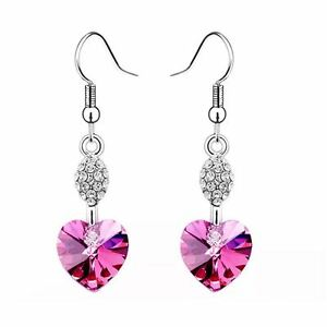 Image Is Loading Heart Shaped Dangle Hot Pink Earrings Fashion Women