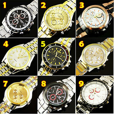 Wholesale! 9PCS Fashion Luxury Watches Men's Quartz Stainless Steel WristWatches