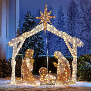 Details About Large Nativity Scene Outdoor Christmas Decoration Crystal Light Up Holy Family
