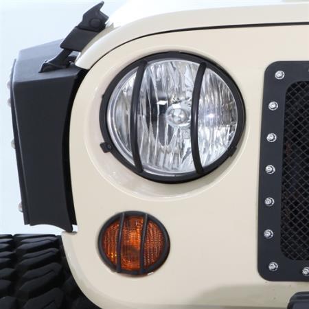 Smittybilt Black Front Light Guard Kit for Jeep Wrangler JK 2007-2018  5692