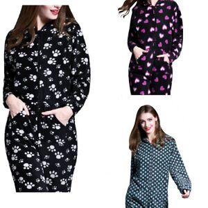 Onesie-Womens-Ladies-Fleece-Playsuit-All-in-One-Hooded-Jumpsuit-not-Gerber