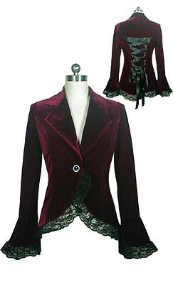 ChicStar Burgundy Victorian Steampunk Velvet Corset Style Jacket UK Size 6 to 28