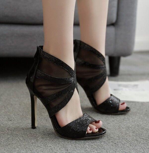 Sandale stiletto eleganti tacco 12 cm  nero strass simil pelle eleganti 1030