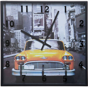 wanduhr cities new york taxi kare design ebay. Black Bedroom Furniture Sets. Home Design Ideas