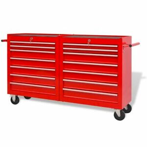 vidaXL-Workshop-Tool-Trolley-with-14-Drawers-Size-XXL-Steel-Red-Storage-Cart