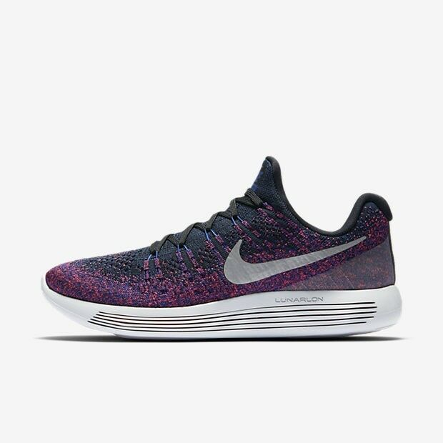 New Nike LunarEpic Low Flyknit 2 (Purple) Black/Reflect Silver  863779 015 Rare