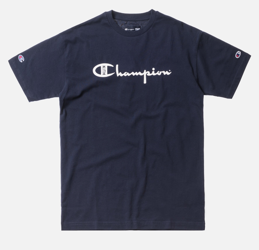 b487537e Kith X Champion Script Logo Tee Shirt Navy Blue Mens Large Ronnie ...