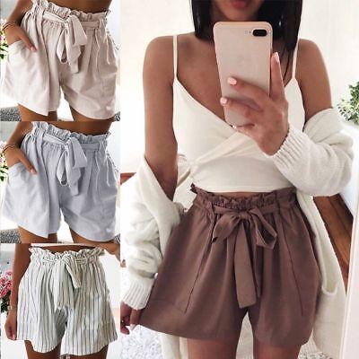Women Short Pants Casual Loose Shorts Bow Beach High Waist Short Trousers S-XL