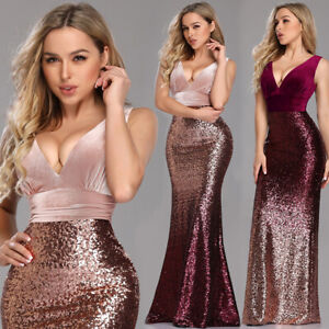 Ever-Pretty-US-V-neck-Evening-Dress-Long-Sequins-Mermaid-Bodycon-Prom-Gown-07767