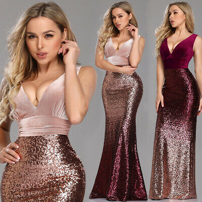 Ever-Pretty US Women Double V-Neck Sequin Dress Bodycon Mermaid Prom Dress Gowns
