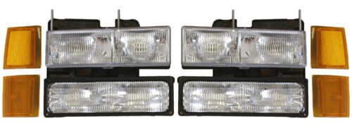 New Replacement Headlight 8-PC SET FOR 1994-98 CHEVROLET TRUCK /& 1994-99 SUVS