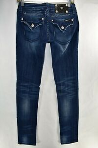 Miss-Me-Jeans-Skinny-Stretch-Blue-Jeans-Tag-Size-27-Womens-Meas-28x33-5-Flap