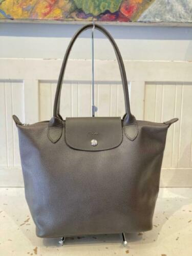 Longchamp Taupe Gray Leather Shoulder Purse