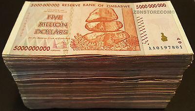 5 x 500 Million 5 x 50 Billion Zimbabwe Dollars Bank Notes AA AB 2008 Currency