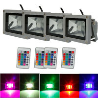 4x 10w Rgb Memory Led Flood Spot Landscape Light Waterproof With Remote Control