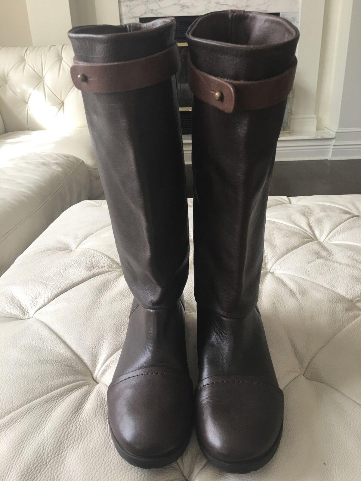 Damens Designer Chocolate Braun Soft Leder Riding Stiefel Größe 36 Made In