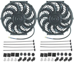 Dual 12 inch electric fans 12 volt auto radiator cooling for 12 volt electric fan motor