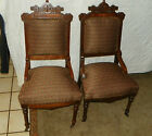 Pair of Walnut Carved Eastlake Sidechairs / Parlor Chairs  (SC209)