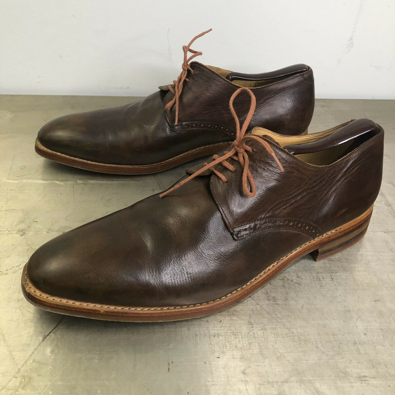 Heschung braun Leather Lace Up Derby Men's Größe 9.5 UK 10 US Made in France