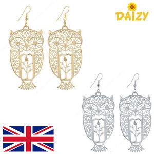 Image Is Loading Gold Owl Earrings Silver Dangle