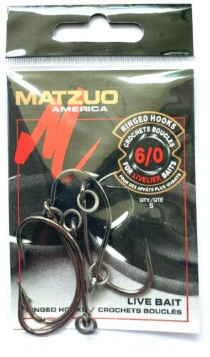 25 Matzuo Ringed Live Bait O/'Shaughnessy Fish Hooks size 6//0 R130011 R130010