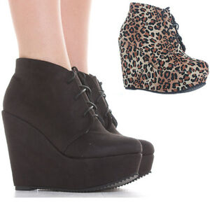 Ladies-Wedge-Shoes-Lace-Up-Booties-Wedges-High-Heel-Platform-Ankle-Boots-Size