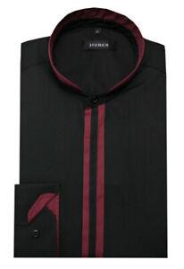HUBER-Asia-Stehkragen-Hemd-schwarz-rot-weinrot-Made-in-EU-HU-0089-Regular