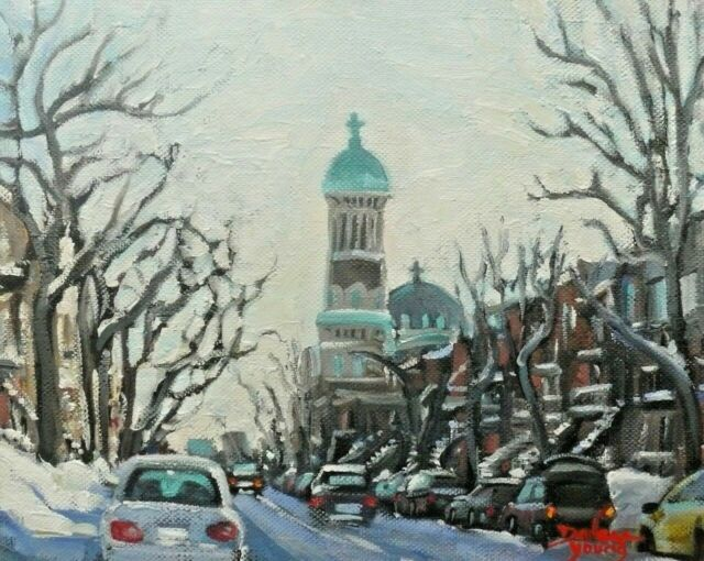 Montreal Winter, St Urban, Mile End,  8x10, Oil , Darlene Young Canadian Artist