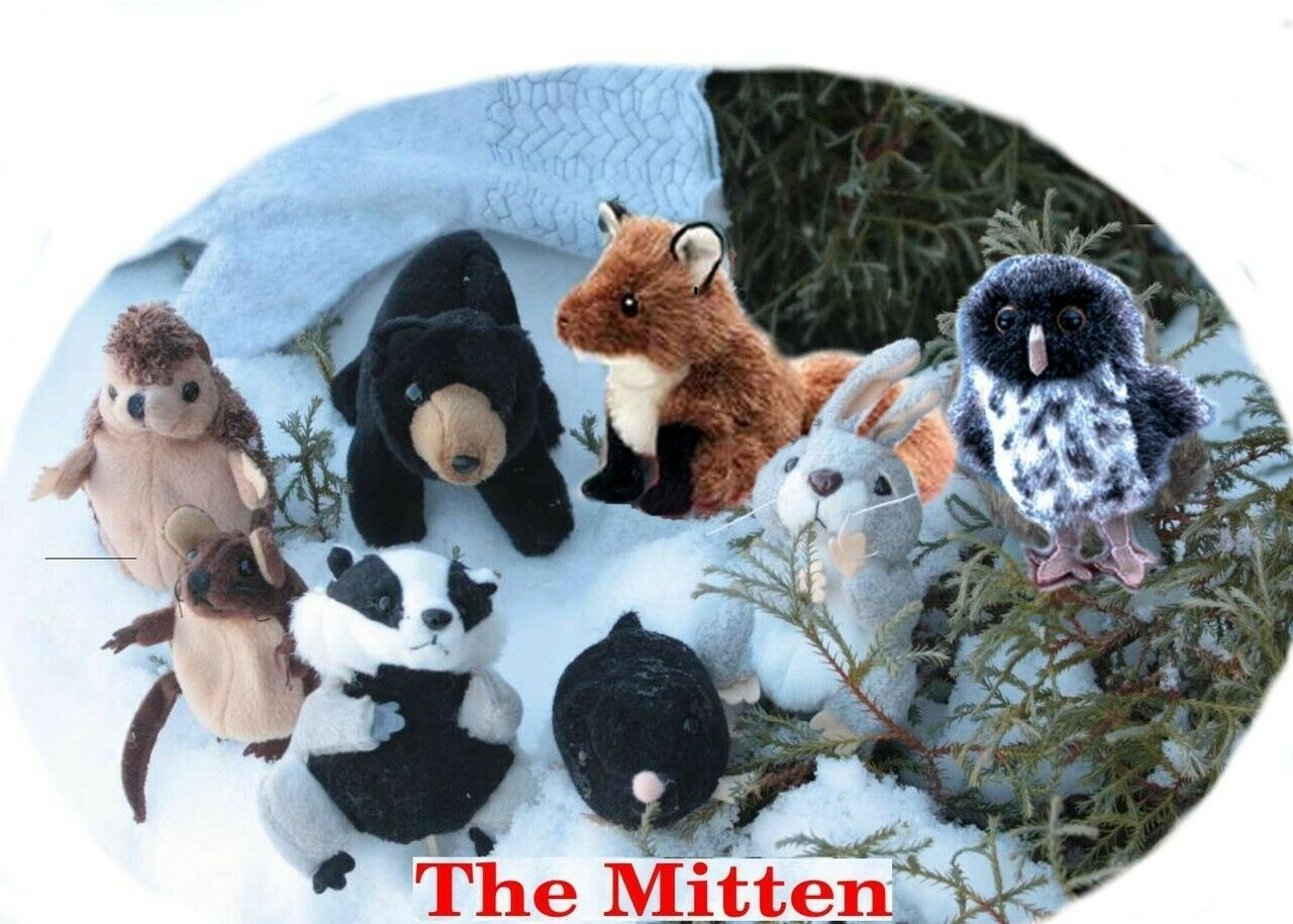 The Mitten Finger Puppet Set Snow White Mittens and 8 Animals