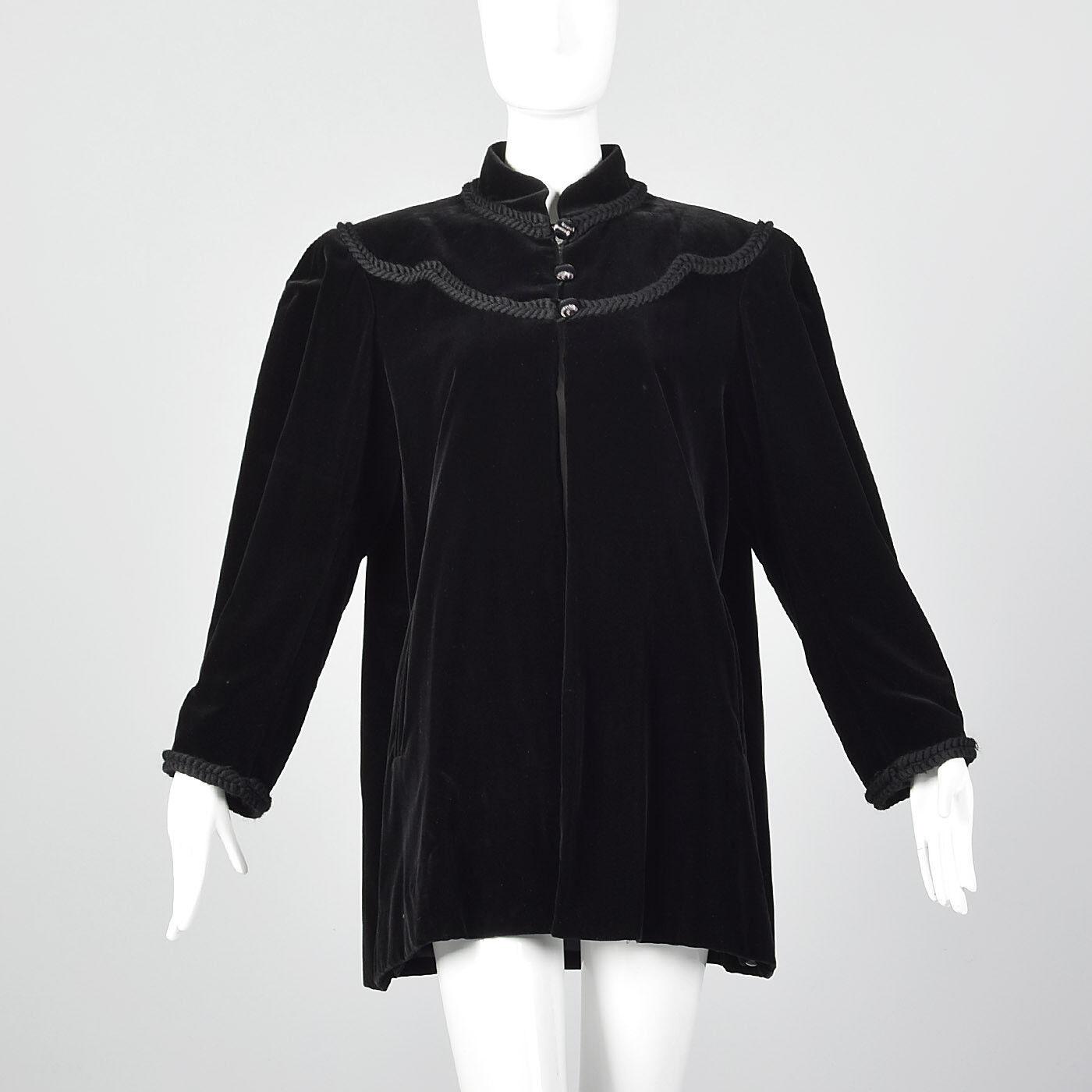 Large 1980s Yves Saint Laurent Rive Gauche Velvet Swing Coat VTG Braided Trim
