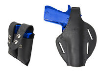 Black Leather Pancake Holster + Dbl Mag Pouch Astra Beretta Full Size 9mm 40