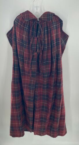 Vintage Burgundy Navy Yellow Plaid Cape with Hood - image 1