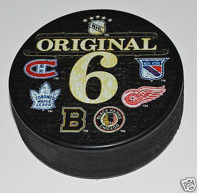 ORIGINAL 6 TEAMS PUCK Wood Look Six Bruins Blackhawks Canadiens Leafs NYR Wings