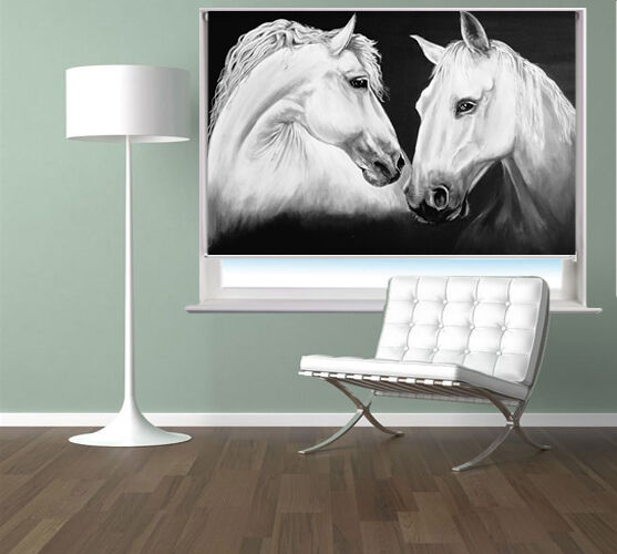 Madly Deeply Two Weiß Horses printed roller blind art picture printed blinds