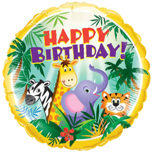 7 pc Zany Zebra Happy Birthday Balloon Bouquet Decoration Safari Jungle Animal