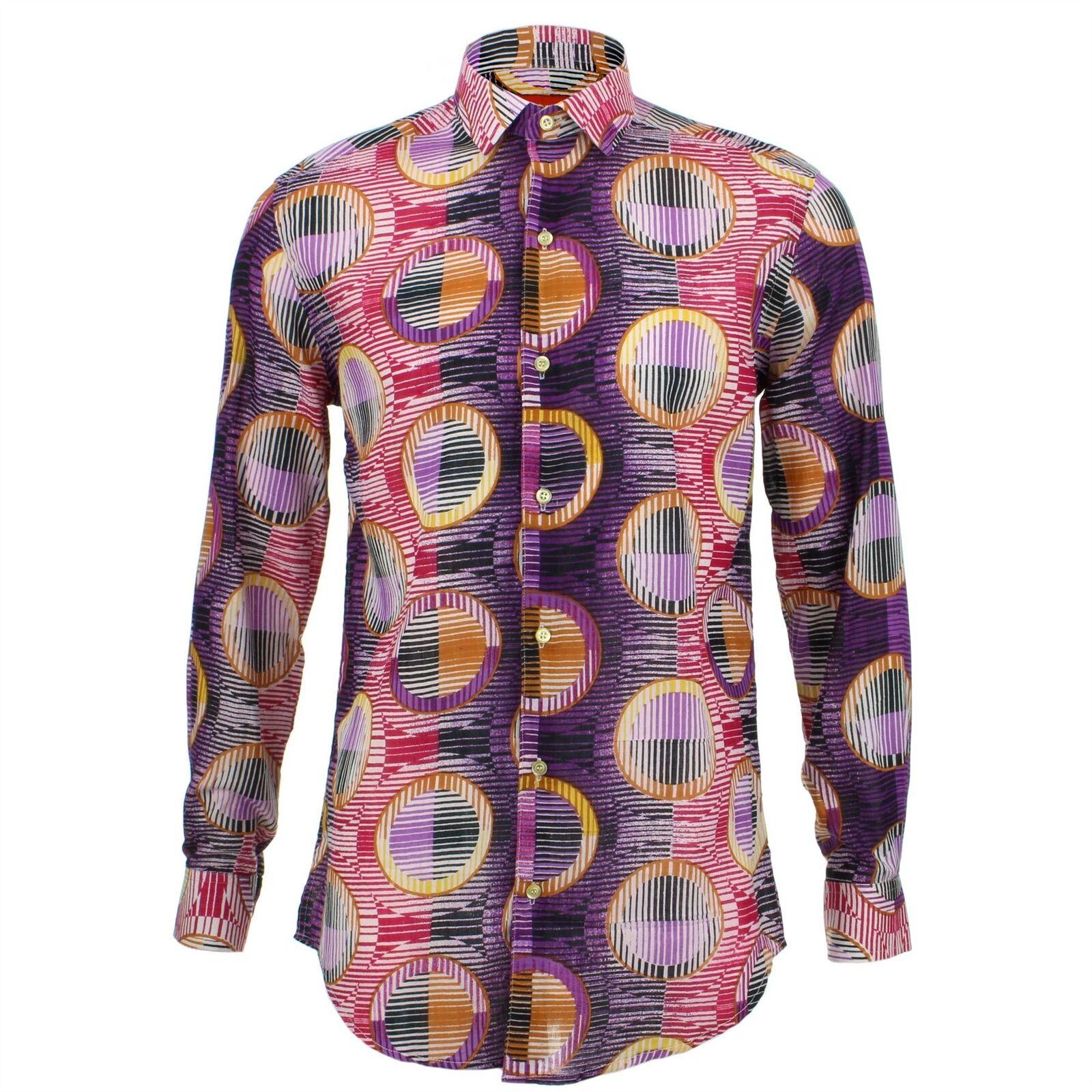 Mens Shirt Loud Originals TAILORED FIT Porthole Purple Retro Psychedelic Fancy