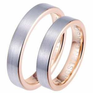 Son-sien-correspondant-a-4-mm-Carbure-de-Tungstene-Or-Rose-Couples-Bague-De-Mariage-Set