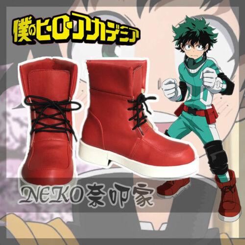 My Hero Boku no Academia Midoriya Izuku Cosplay Shoes Red Boots Cos Shoes