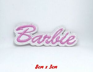 Barbie-Pink-on-White-Embroidered-Iron-on-sew-on-Patch-Cloth-Badge-899