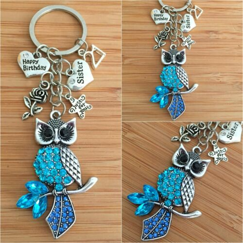 HAPPY BIRTHDAY Keepsake Gifts owl Charm Keyring 13th 21st 30th Gift for Her ~~~