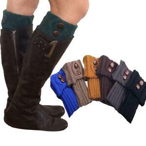 Sn-Am-Fm-Femme-Mode-Hiver-Jambiere-Chaussettes-Bouton-Court-Tricot-Crochet