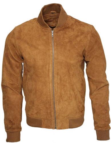 Mens Retro Tan Goat Suede Leather Bomber Varsity Jacket