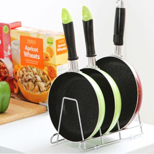 Cuisine en Acier Inoxydable Poêle Rack Holder Houseware organisateur stockage support