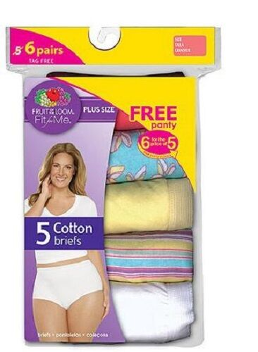 Fruit of the Loom Fit For Me Women/'s Plus Size Brief 6pk 100/% Cotton