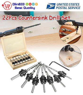 22x Tapered Drill /& Countersink Bit Screw Set Wood Pilot Hole Woodworking Tool