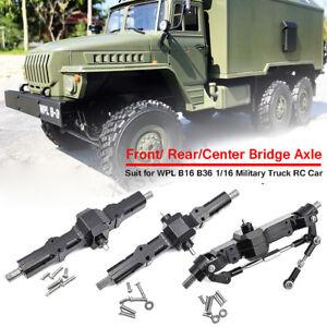 Durable Metal Front+Center+Rear Bridge Axle Kit For WPL B-16 B-36 Military Truck