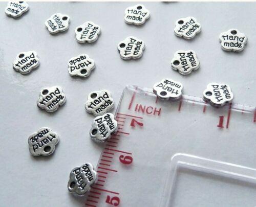 "reversible! 25 pcs 8mm Zinc Based Silver Tone /""Handmade/"" tag charm"