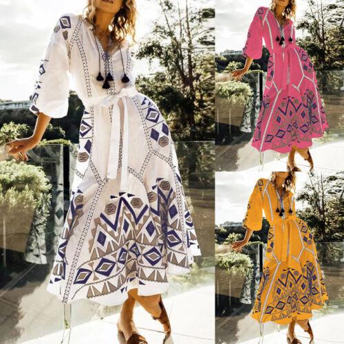 ZANZEA Women Summer Beach Evening Party Long Shirt Dress Floral Print Sundress
