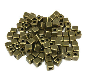 antiqued bronze plated Tibetan style 4mm square cube spacer beads