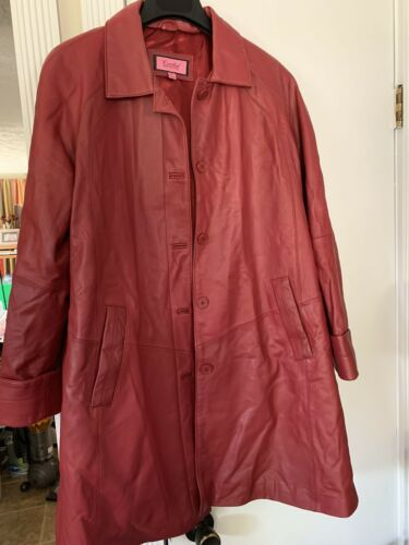 Excelled Red Leather Trench Coat Womens XL